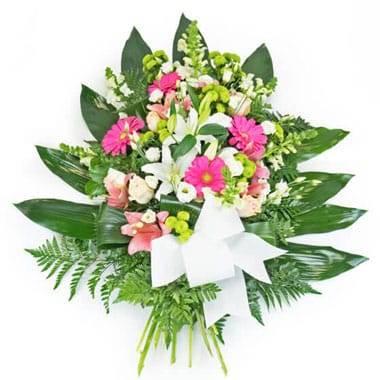 Gerbe de fleurs roses & blanches